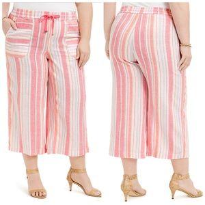 Only 16W Left! Style Co Wide Leg Stripe Linen Pant